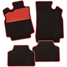 CarFashion 235745 Alfombrillas para Coche, Negro/Rojo