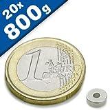 20 x Ringmagnet / Magnetring Ø 6/3 x 2,5 mm Neodym N42, Nickel - diametral - Haftkraft: 800g - starke Supermagnete mit extremer Haftkraft für Kühlschrank Magnet Glasboards Magnettafel Pinnwand Whiteboard