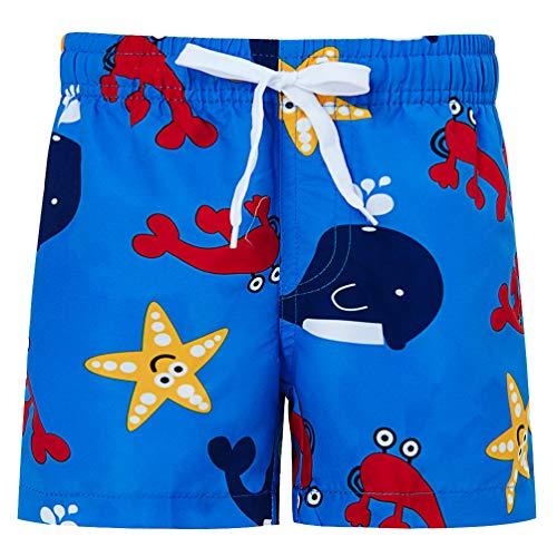 Funnycokid Big Jungs Jogginghose Shorts 3D Funky Starfish Design mit Mesh-Futter Kinder Strand Surfen Badeshorts Blau