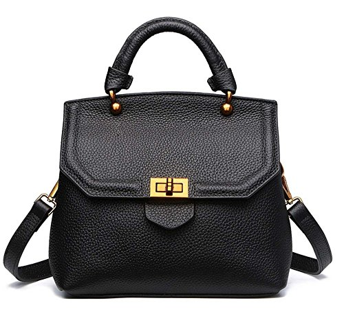 Xinmaoyuan Borse donna Protezione sollevabile in pelle Borsette Fashion primo strato di gusci in pelle borsa a tracolla messenger bag Nero