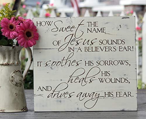 JeremyHar75 Holzschild zum Aufhängen von Geschenken, wie süß der Name von Jesus klingt, handbemalt, Hymne, 165 x 18 cm