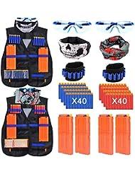 Kids Tactical Vest 2 Set Blaster Jacket Kit for Nerf Toy Guns N-Strike Elite Series with 80 Soft Foam Darts Bullets,4Pcs 12-Dart Quick Reload Clips,2Pcs 6-Dart Wrist Band,2 Face Mask & 2 Goggle