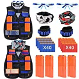 Vidillo Taktische Weste Jacke Set Für Nerf N-Strike Elite Blaster Toy Gun mit 80Pcs Darts Kugeln,4Pcs Quick Reload Clips,2PcsTaktische Weste,2Pcs Armbänded,2Pcs Gesichtsmaske,2Pcs Goggle