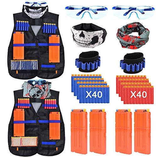 Vidillo Chaleco Táctico Niño Kit para Nerf Elite N-Strike Series con 80 Dardos de Recarga,2 Chaleco Táctico Niño,4 Clip de Recarga,2 Muñequera de dardo Suave,2 Máscara de Tubo Facial,2 Gafas