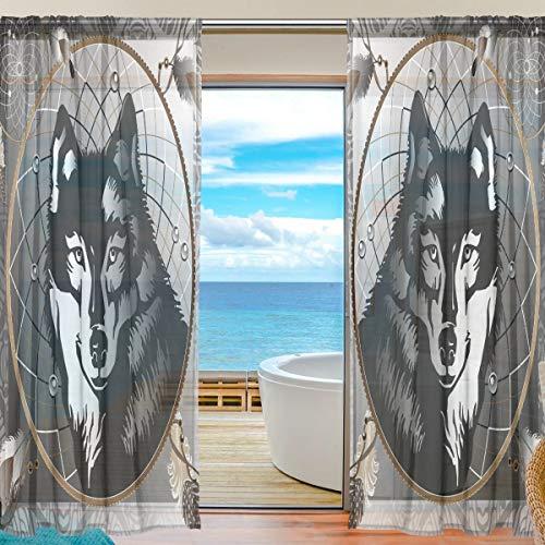 Vinlin Cortina Transparente para Ventana, diseño de Lobo, atrapasueños, Gasa para Dormitorio, Sala de Estar, 2 Paneles de 140 x 198 cm, 55x78x2(in)