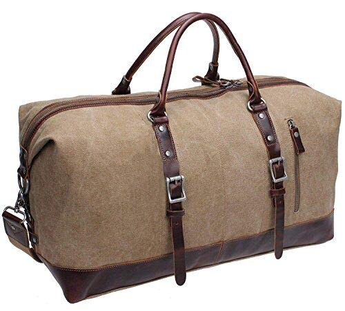Iblue Leder Weekender Travel Gepäck Leinwand Gym Tasche # d-007