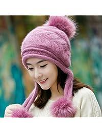 LIUXINDA-ZZM Sombrero Mujer otoño e Invierno Moda Tejer Sombrero Invierno  Conejo Pelo Tres Bolas más Terciopelo cálido Sombrero Bola Bola… 9771e1bdb2c
