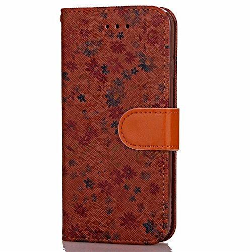 iPhone Case Cover Mischfarben-PU-Leder-Kasten-Mappen-Kasten mit Karten-Bargeld-Slot kleine Blumen-Muster-Fall-Standplatz-Abdeckungs-Fall-weicher TPU-Abdeckung für Apple IPhone 7 plus ( Color : Brown , Brown