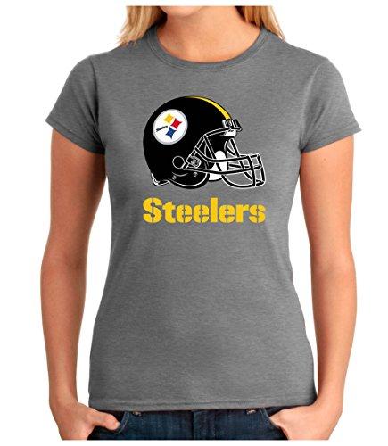 OM3® - Pittsburgh Football - T-Shirt | Damen | American Football Shirt | M, Grau Meliert