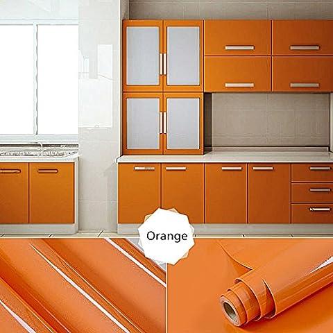 Top Quality Kitchen Cabinet PVC Self-Adhesive Wallpaper Rolls for Furniture / Kitchen / Bathroom 0.61 * 5M Door Sticker Sheet / Door Cabinet Wall Paper,Orange