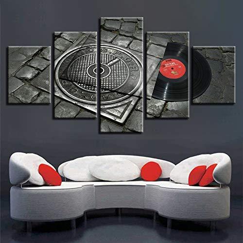 are Bilder 5 Stücke HD Drucke Music Notes Dekoration Wandkunst Nacht Hintergrund Herz Kunstwerk Poster ()