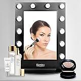 Kemier Espejo de Maquillaje de Luz de Día Natural con Bulbos LED Atenuadores con Interruptor Rotador Montaje de Pared y Mesa de Espejo de Maquillaje, Espejo con Aumento 10x Cosmético-Negro …