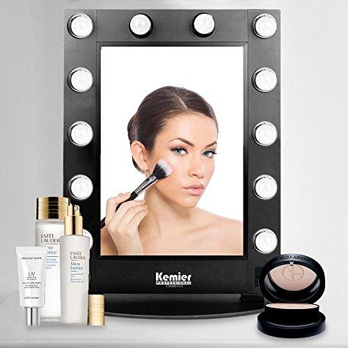 Kemier specchio per makeup con luce naturale, interruttore rotante e lampadina led sia da parete che da tavolo, ingrandimento fino a 10 volte, specchio per makeup - nero