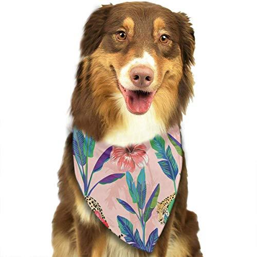 (Hipiyoled Rotes Hibiskus-Blumenmuster stilvoller Hund Bandana-Kragen waschbar Reversiable verstellbares Dreieck Lätzchen)