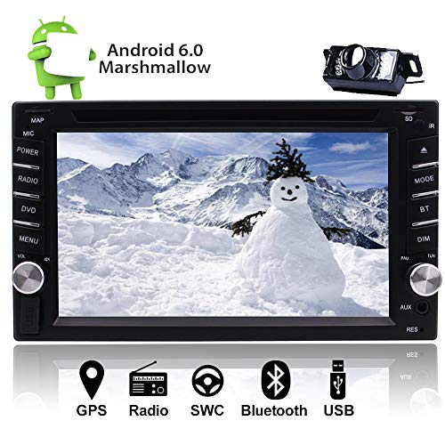 EINCAR Back-up-Kamera inklusive! 6,2-Zoll-HD-Touch Screen Android 6.0 Doppel-DIN In Dash Head Unit Autoradio Auto GPS 1080P Video Blutooth SWC WiFi USB & AUX CD/DVD-Player-FM/AM/RDS DAB/D (Handy-back-up-kamera)