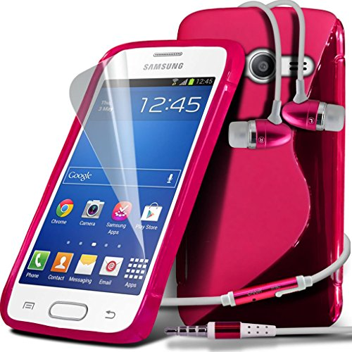 Samsung Galaxy S5 Neo hülle Tasche (Grün + Kopfhörer) Slim-Fit-Abdeckung für Samsung-Galaxie-S5 Neo-hülle Tasche Haltbarer S Linie Wellen-Gel-Kasten-Haut-Abdeckung + mit Aluminium Earbud Kopfhörer, Po Wave Gel + Earphone ( Hot Pink )