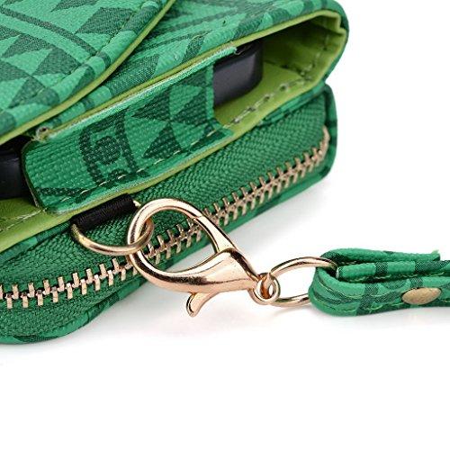 Kroo d'embrayage avec dragonne Portefeuille 16cm Smartphones et phablettes pour Pantech Vega No 6 Rose vert