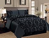 4-teiliges Bettwäscheset, 2Kissenbezüge, Schonbezug, Bettdeckenbezug–Motiv: Damast, Farbe: Schwarz, Polyester, Schwarz , King Size