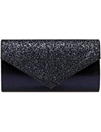 3d4506437829d Caspar TA517 Damen kleine elegante Envelope Glitzer Clutch Tasche  Abendtasche