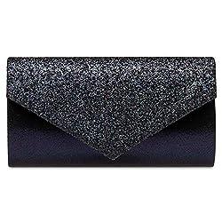Caspar TA517 Damen kleine elegante Envelope Glitzer Clutch Tasche Abendtasche, Farbe:dunkelblau, Größe:Einheitsgröße