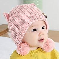 Myzixuan Invierno Nueva niños Lindos Punto Sombrero bebé Caliente Doble  Capa Lana Sombrero-bebé oído 3da44b48969