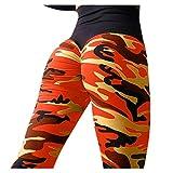 BHYDRY Sport Damen Mode Camouflage Workout Leggings Fitness Sport Turnhalle LäUft Yoga Athletische Hosen Hohe Taille Patchwork(M,Orange)