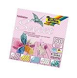 folia 491/2020 - Faltblätter Sweet, 20 x 20 cm, 80 g/qm, 50 Blatt sortiert in 5 Motiven - ideal für wunderschöne Faltfiguren und -formen