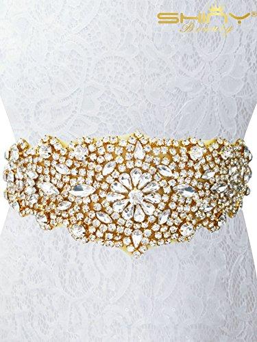 ShinyBeauty Gorgeous Strass Trim Braut Schärpe Strass Applikation Gürtel Hochzeit Band für Frauen RA124, Gold, 32cm*6.5cm -
