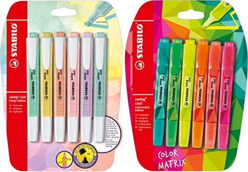 Textmarker - STABILO swing cool Pastel + Color Matrix Edition - 2x 6er Pack - 12 Farben