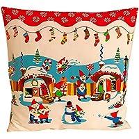 """Kissenbezug"""" Weihnachtszwerge"""" Zwerg Schneemann Punkte Rot Weihnachten Advent Deko Schlitten Kissenhülle für Kissen Schnee"""