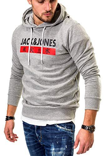JACK & JONES Herren Hoodie Kapuzenpullover Sweatshirt (Large, Light Grey Melange/Elements)