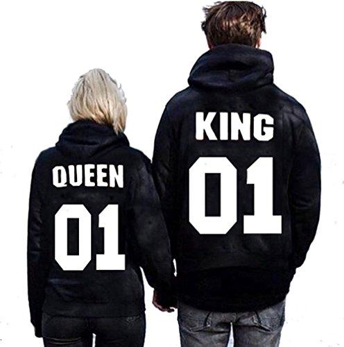 *King Queen Hoodies Pärchen Kapuzenpullover 2 Stück*