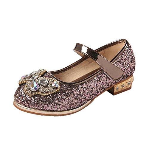 Meijunter Enfants Filles Printemps Été Bling Bowknot Rhinestones Princesse Plat Chaussures Copper