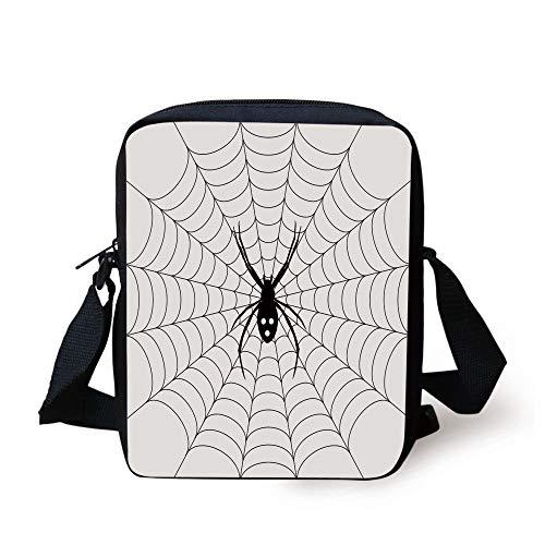 LULABE Spider Web,Poisonous Bug Venom Thread Circular Cobweb Arachnid Cartoon Halloween Icon Decorative,Black White Print Kids Crossbody Messenger Bag Purse (Halloween Candy Bug)