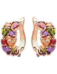 """Fabula Jewellery 18K Rose Gold Plated Multicolor Zircon Stud Earrings For Women & Girls """"Stellar Fine Jewels Edition..."""