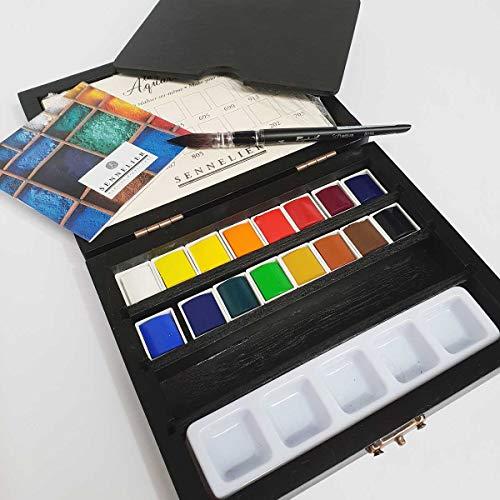 Sennelier Watercolour Wooden Box Set of 16 Half Pans & Curtisward Bockingford Mix Paper Artists Pad A4