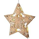 Fensterbild Weihnachtsstern aus Holz 33cm, LED Beleuchtung