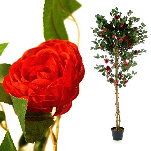 Künstliche Kamelie Kamelien-Baum Kunstpflanze Kunstbaum mit vielen Zweigen herrlichen Blüten Echtholz-Stamm und Topf - Gesamthöhe 200 cm – grün braun rot (Hanf-gebäude)