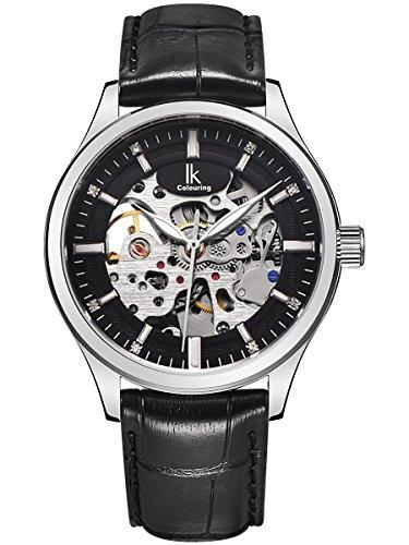 Alienwork IK mechanische Automatik Armbanduhr Skelett Automatikuhr Uhr Herren Uhren modisch Design Leder schwarz 98543G-01