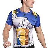 sibaway | T-Shirt de Compression Vegeta DBZ | Tshirt Musculation Crossfit Dragon Ball | Déguisement Cosplay Manga