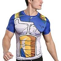 Sibaway Tshirt de Compression Vegeta Manches Courtes | Tshirt 3D Super Hero | Tshirt Musculation Fitness | T-Shirt de Sudation Cross Fit