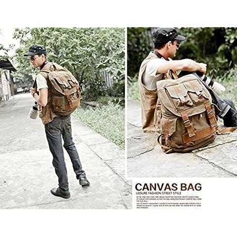 vootul lienzo SLR Cámara Bolsa de hombro bolsa mochila mochila con Cubierta Impermeable Bolsa de viaje senderismo bolsa, ArmyGreen