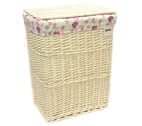 Arpan - Cesto portabiancheria con rivestimento in tessuto bianco, misura grande, motivo farfalle e foglie, colore: viola