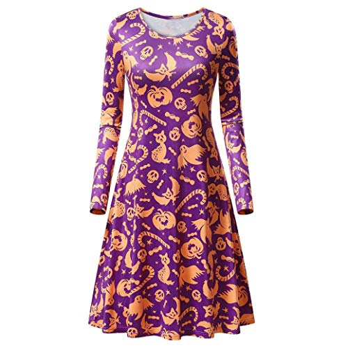 (Kanpola Kleider Damen Kostüm Vintage Retro Rockabilly Cocktail Party Knielang Kleider Swing Minikleid Karneval Weihnachten Halloween)