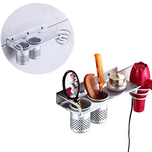 Itian Multifunzione Montaggio a Parete Asciugacapelli Appeso Organizzatore Cremagliera, Titolare Asciugacapelli Alluminio con 2 Tazze