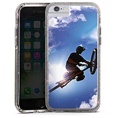 Apple iPhone 6 Bumper Hülle Bumper Case Glitzer Hülle Mountainbike Fahrrad Bicycle Bumper Case Glitzer rose gold