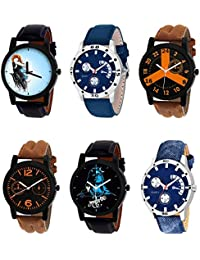 NIKOLA Latest 3D Design Mahadev Black Blue And Brown Color 6 Watch Combo (B22-B56-B16-B18-B23-B57) For Boys And...