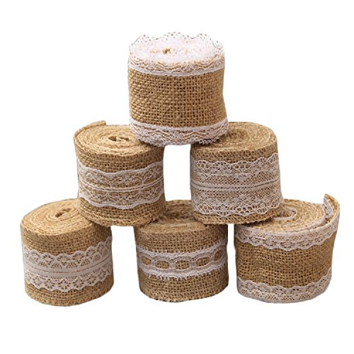 Yalulu 6 Stück 5 * 2M Vintage Leinwand Hessische Jute Lace Band Handwerk Farbband mit Weisse Spitzen für DIY Handwerk Hochzeit Haus Dekor Lace Ribbon Hochzeit