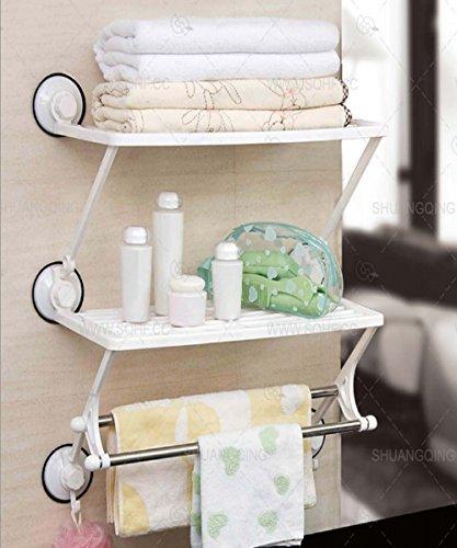 Chrom Badezimmer Handtuch Rack mit Handtuchhalter doppelt-Wand montiert 3 Tier Towel Rail & Shelf (SI-086)