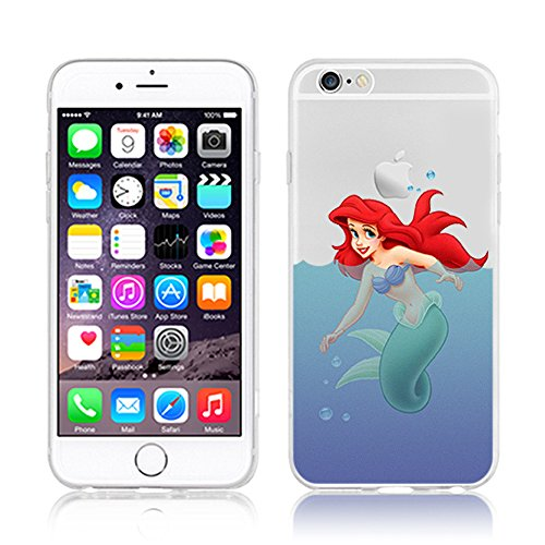NEW DISNEY PRINCESSES TRANSPARENT CLEAR TPU SOFT CASE FOR APPLE IPHONE 7 - MULAN ARIEL 2